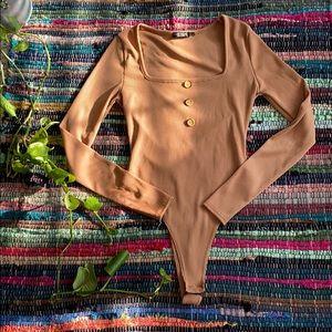 Nasty Gal Tan Long Sleeve Ribbed Thong Bodysuit